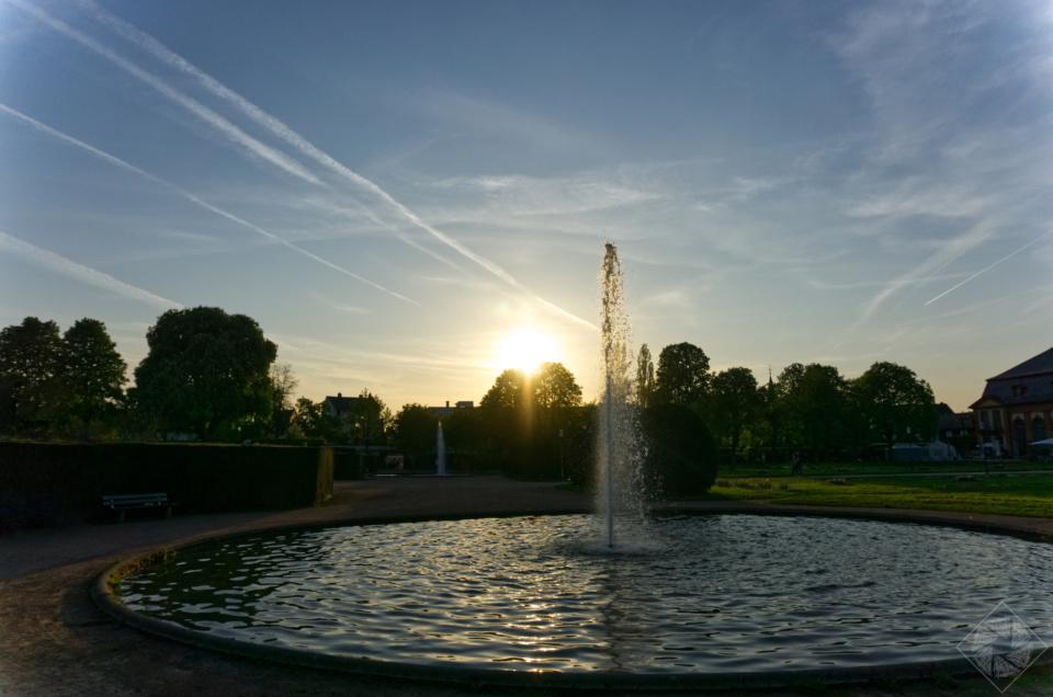 Sonnenuntergang Orangerie in Darmstadt